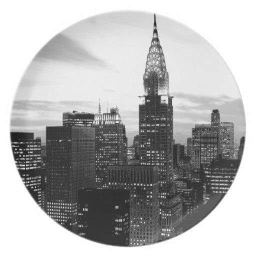 Black & White New York Dinner Plates