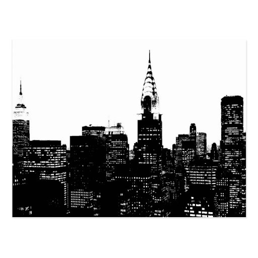 Black & White New York Silhouette Postcards