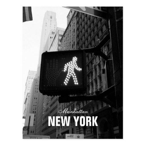Black White New York Street Walk Sign Postcard