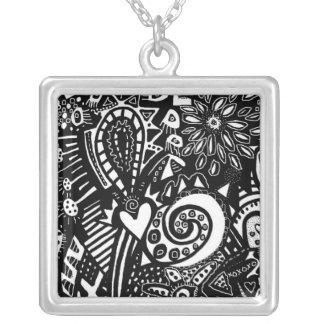 Black & White No 1 Abstract Doodle Ink on Paper Square Pendant Necklace