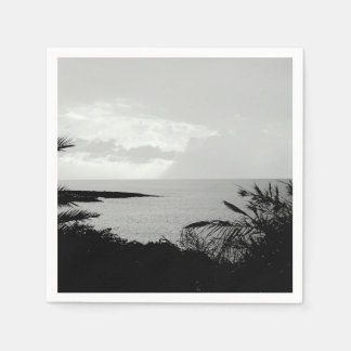 Black & White Ocean View Paper Napkins