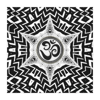 Black+White Om Star Trip Mandala Canvas Canvas Print
