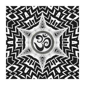 Black+White Om Star Trip Mandala Canvas Canvas Prints