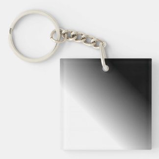 Black White Ombre Double-Sided Square Acrylic Key Ring