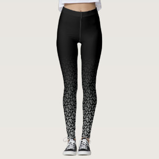 Black & White Ombre Retro Rounded Square Patterns Leggings