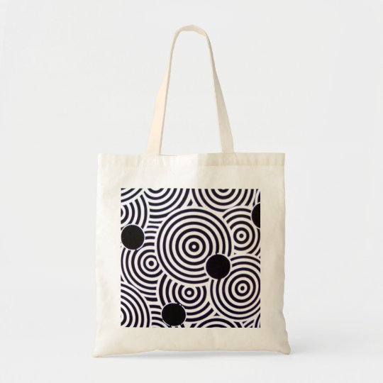Black & White Op Art Circles Budget Bag