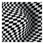 Black white op art optical illusion abstract print