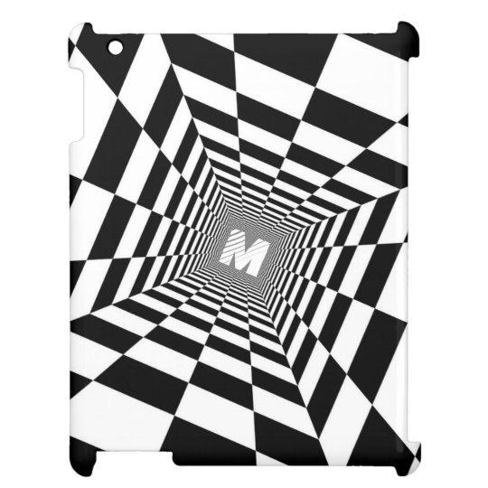Black & White Optical Illusion, White Monogram iPad
