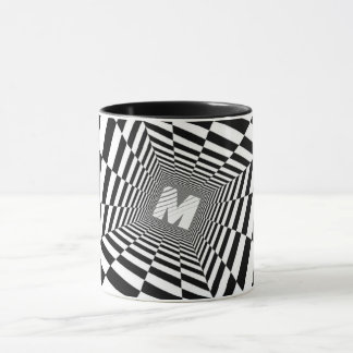 Black & White Optical Illusion, White Monogram Mug