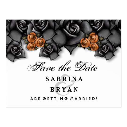 Black White Orange Roses Halloween Save Date Postcard