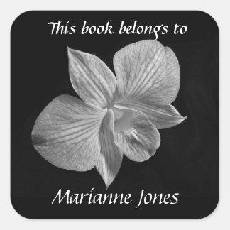 Black & White Orchid Bookplate Sticker