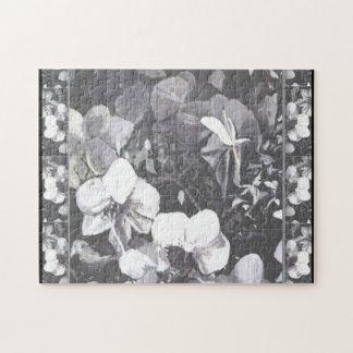 Black & White Orchid HalfMoon Jigsaw Puzzle