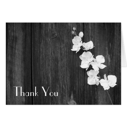 Black & White Orchids & Barn Wood Thank You Card