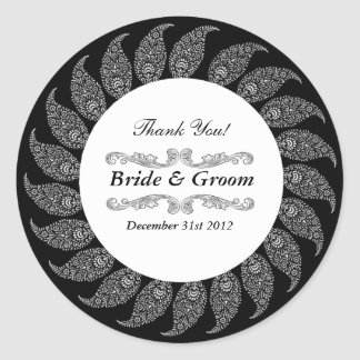 Black & White Ornate 3 Favor Sticker label