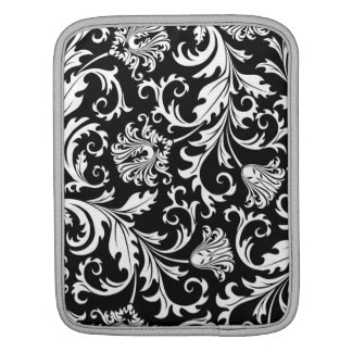 Black & White Ornate Floral Damask Pattern iPad Sleeve