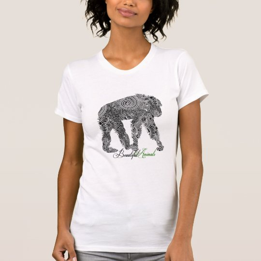 Black & White Ornate Floral Monkey T-Shirt