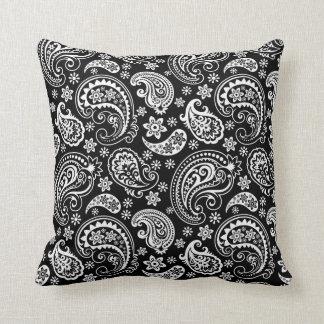 Black & WHite Ornate Paisley Pattern Throw Pillow