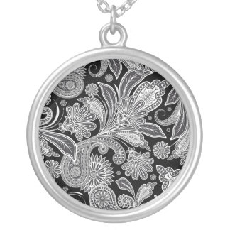 Black & White Ornate Paisley Silver Plated Necklace