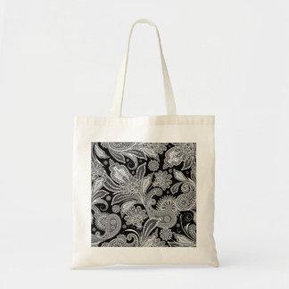 Black & White Ornate Paisley Tote Bag