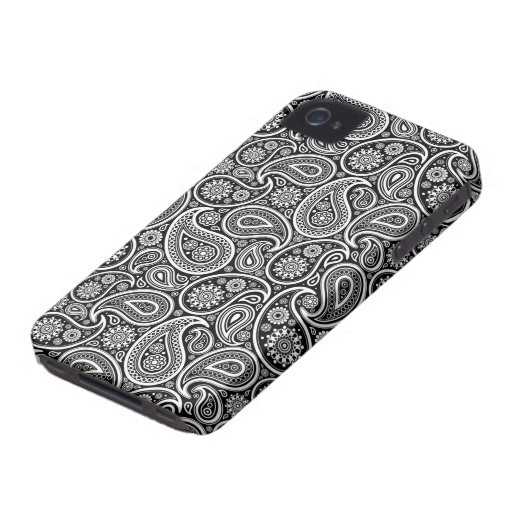 Black & White Ornate Retro Paisley Pattern iPhone 4 Covers