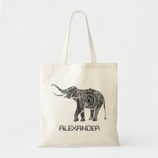 Black & White Ornate Swirls Elephant -Custom Tex Budget Tote Bag