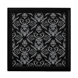 Black & White Ornate Vintage Lace Pattern Gift Box