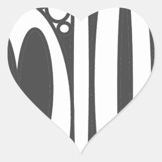 Black white ovals border print heart sticker