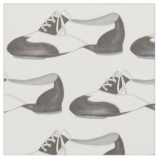 Black White Oxford Tap Shoe Dance Teacher Tapdance Fabric