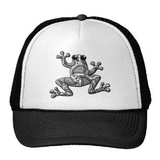 Black White Paisley Climbing Frog Trucker Hats