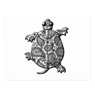Black White Paisley Climbing Turtle Post Card