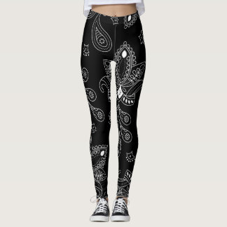 Black/White Paisley Design Women Leggings