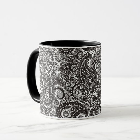 Black & White Paisley Mug