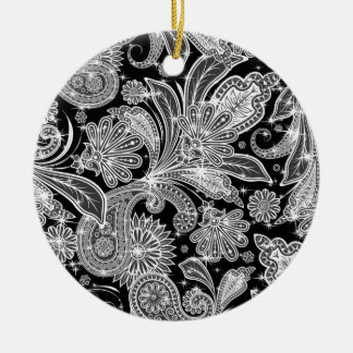 Black & White Paisley Pattern Christmas Ornament