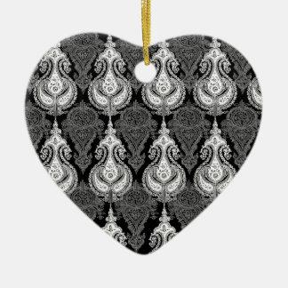 Black White paisley pattern Christmas Ornament