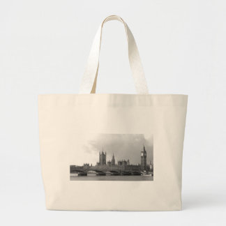 Black White Palace of Westminster Jumbo Tote Bag