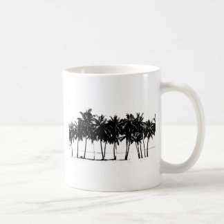 Black White Palm Trees Silhouette Basic White Mug
