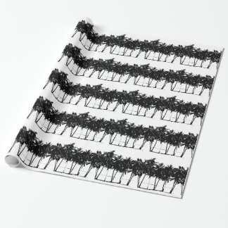 Black White Palm Trees Silhouette Wrapping Paper