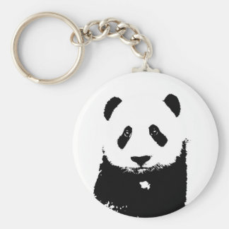 Black & White Panda Basic Round Button Key Ring