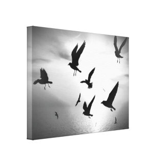Black White Paradise Birds Leaves Canvas Stretched Canvas Print