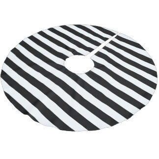 Black White Parallel Stripes Christmas Holiday Brushed Polyester Tree Skirt