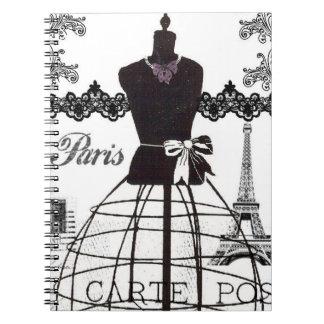Black White Paris Fashion Mannequin Notebooks