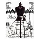 Black White Paris Fashion Mannequin Postcard