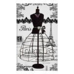 Black White Paris Fashion Mannequin Poster