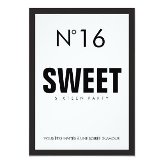 Black & White PARIS Theme SWEET SIXTEEN 16 PARTY Card
