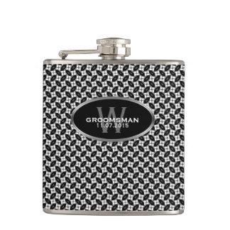Black White Pattern Custom Name Hip Flask