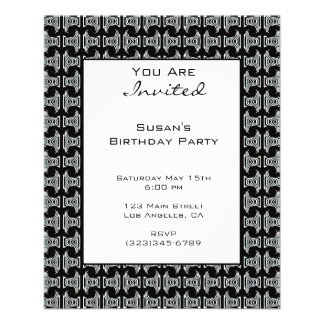 Black White Pattern Party Invite 11.5 Cm X 14 Cm Flyer