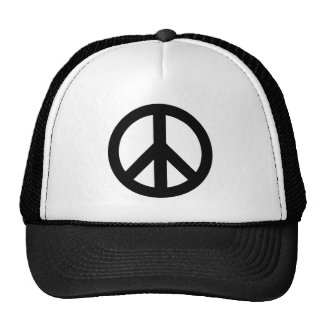 Black White Peace Sign Symbol Cap