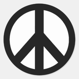 Black White Peace Sign Symbol Classic Round Sticker