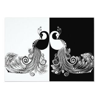 Black & white peacock invitations