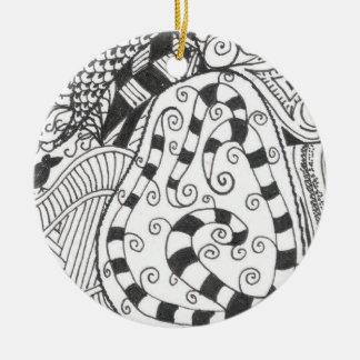 Black White Pear Ornament